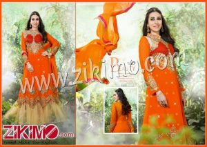 Firoza Karishma Kapoor Orange and Biege Georgette Net Double Frill Embroidered Wedding/Party Wear Anarkali Suit 11017