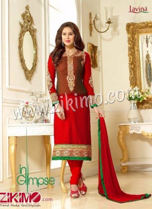 Zikimo Levina 13001 OliveGreen and Red Embroidered Brasso Semi-stitched Party Wear/Wedding Wear Straight Suit