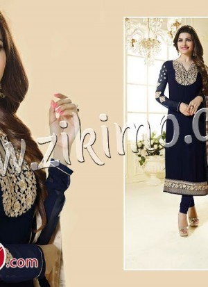 Prachi Desai3035 DarkBlue Embroidered Georgette  Semi-stitched Party Wear/Daily Wear Straight Suit