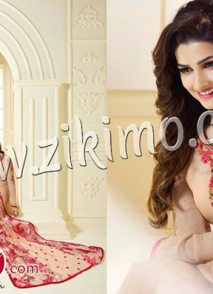 Prachi Desai 3038LightSalmon Embroidered Georgette  Semi-stitched Party Wear/Daily Wear Straight Suit