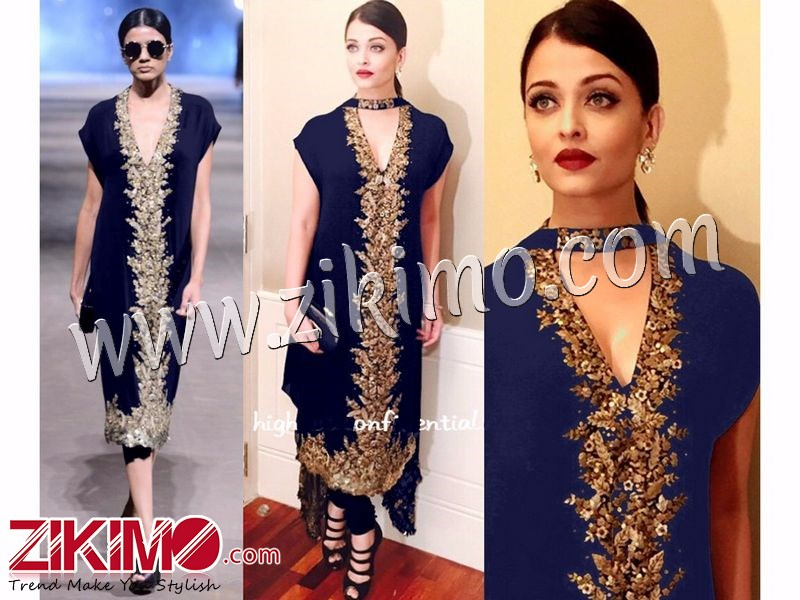 Aishwarya Rai Party Wedding Wear Navy Blue Georgette With Embroidery Palazzo Pants Style Unsched Suit