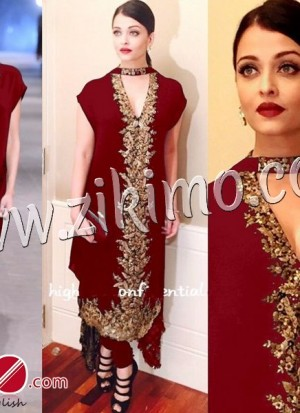 Aishwarya Rai Party Wedding Wear Maroon Georgette With Embroidery