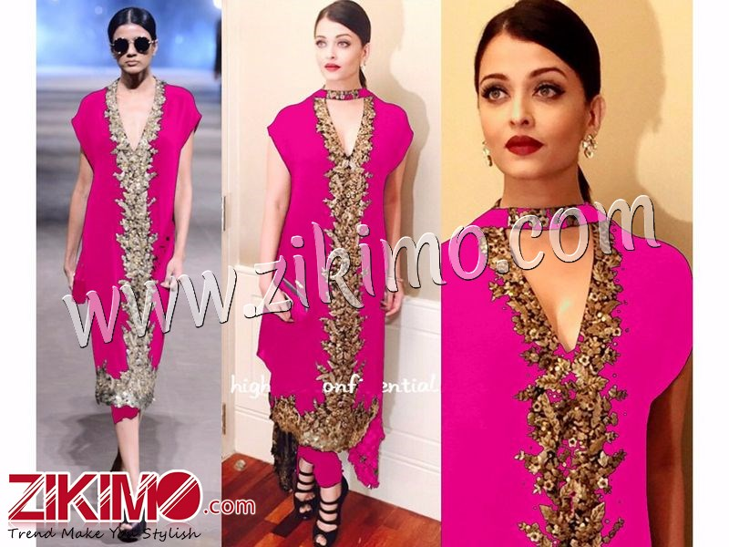 Aishwarya Rai Party Wedding Wear Deep Pink And Golden Georgette