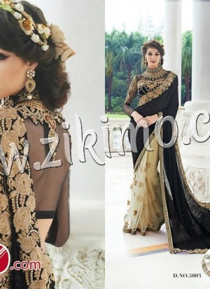 385fabc5e3b34 Zikimo 5003 Designer Offer White and Black Embroidery Work Georgette And Net  Wedding Party Wear Saree