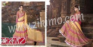 Zikimo Shanaya 702 Peach And Pink Georgette and Net Wedding/Party Wear A Line Lehenga Choli
