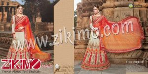 Zikimo Shanaya 703 Off White And Orange Pink Silk Georgette Zari, Resham, Zardosi, Cutdana, Patch Work Wedding/Party Wear A Line Lehenga Choli