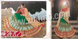 Zikimo Shanaya 704 Blue and Red Silk Georgette Zari, Resham, Zardosi, Cutdana, Patch Work Wedding/Party Wear A Line Lehenga Choli