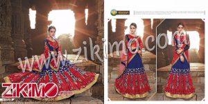 Zikimo Shanaya 707 Blue And Red Silk Georgette Zari, Resham, Zardosi, Cutdana, Patch Work Wedding/Party Wear A Line Lehenga Choli