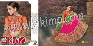 Zikimo Shanaya 708 Orange And Pink Georgette Zari, Resham, Zardosi, Cutdana, Patch Work Wedding/Party Wear A Line Lehenga Choli