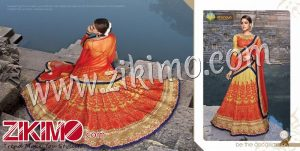 Zikimo Shanaya 710 Orange And Mustard Silk Zari, Resham, Zardosi, Cutdana, Patch Work Wedding/Party Wear A Line Lehenga Choli