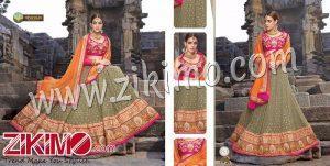 Zikimo Shanaya 711 Grey and Magenta Silk Zari, Resham, Zardosi, Cutdana, Patch Work Wedding/Party Wear A Line Lehenga Choli