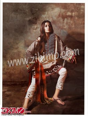 Zikimo Sanna and Safeena 4-A Cream and Brown Embroidered Cotton Satin Party/Daily Wear Designer Suit