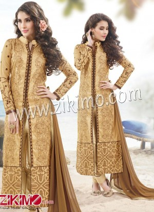 Zikimo Viva822 Burlywood and Brown Embroidered Satin Cotton Semi-stitched Party Wear/Daily Wear Straight Suit