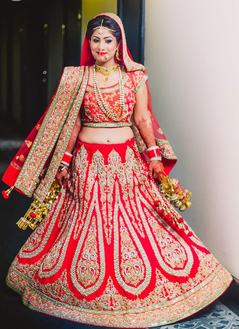 a836c83968 Indian Bridal Red Silk Lehenga Choli at Zikimo