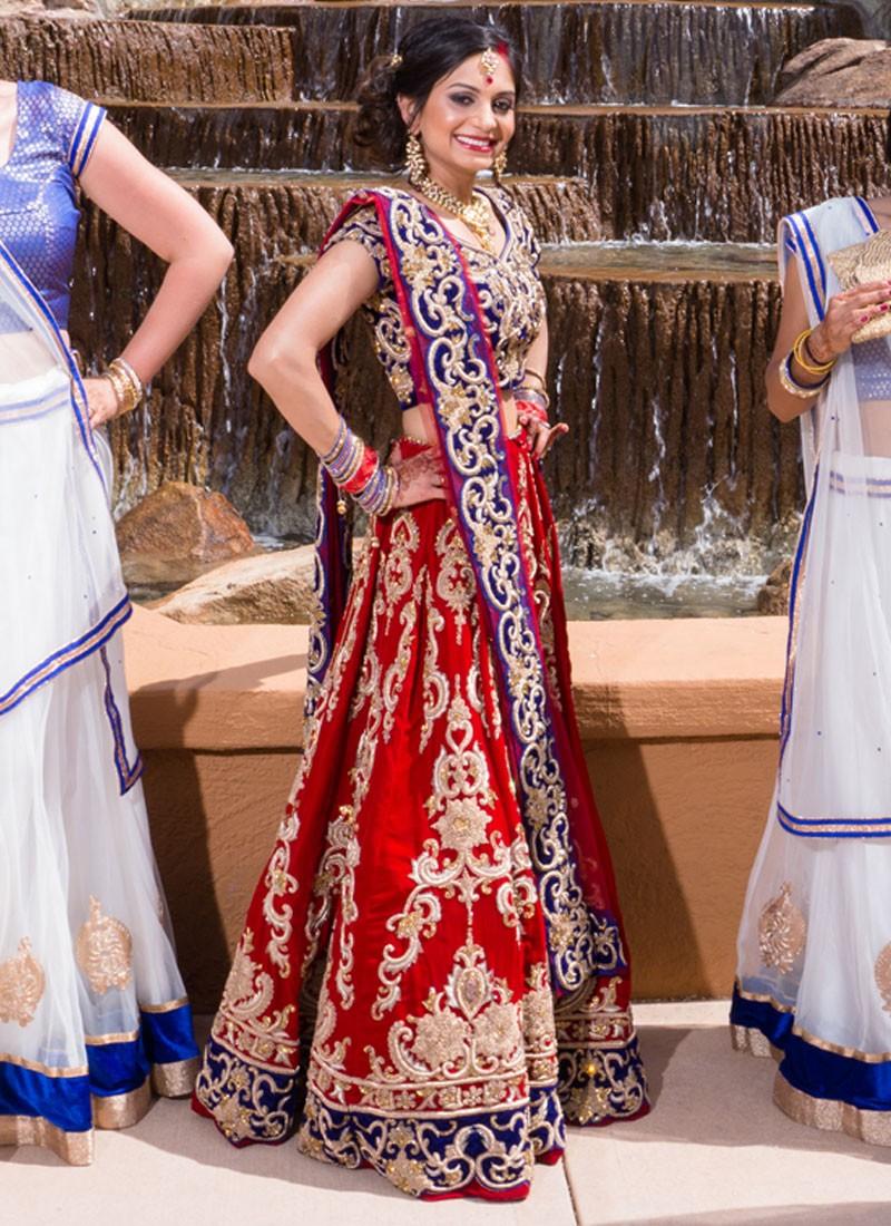 e09cab3a18 Red & Blue Velvet Indian Bridal Lehenga Choli at Zikimo