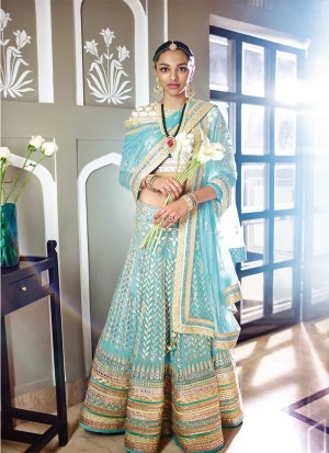 Sky Blue Mehndi Sangeet Function Lehenga Choli with Gota Patti Work at Zikimo
