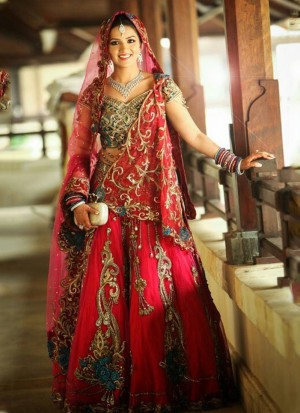 Designer Red Raw Silk Georgette Indian Bridal Lehenga Choli with Resham Embroidery at Zikimo