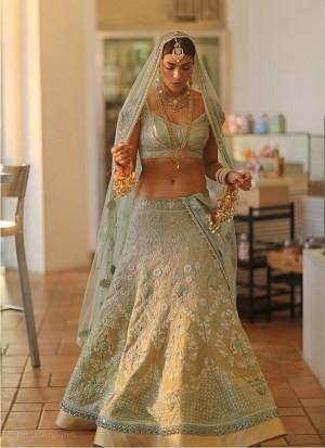 Designer Light Turquoise & Beige Wedding Sangeet Lehenga Choli at Zikimo