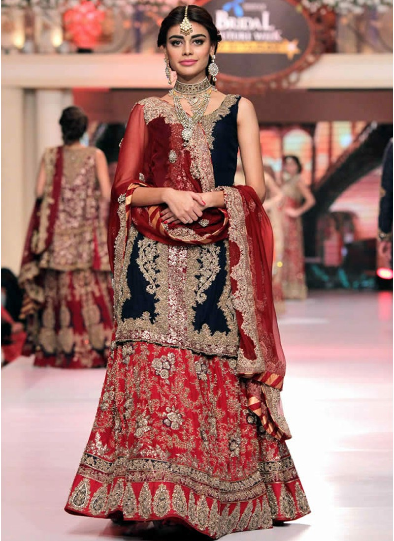 Designer Indian Bridal Red Lehenga with Navy Kurta at Zikimo