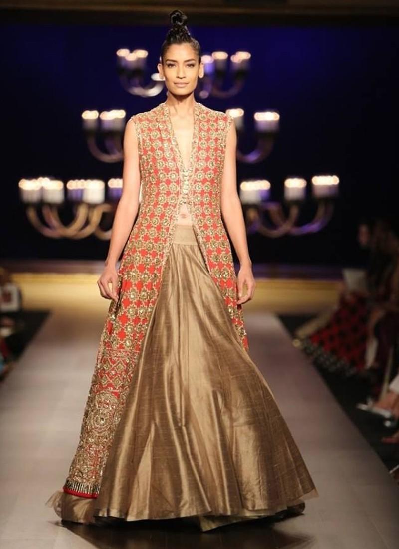 Designer Red Zari Work Embroidered Jacket With Golden