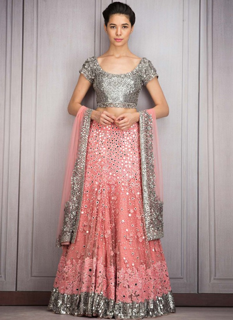 Lehenga For Mehndi Ceremony : Silver and pink mehndi sangeet ceremony lehenga with