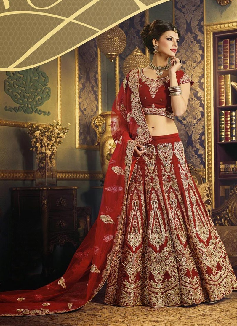 Traditional Red Indian Bridal Lehenga Choli with Dabka Work at Zikimo