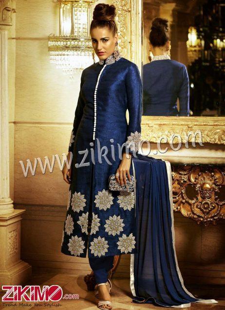 Zikimo NAVY BLUE BHAGLPURI SILK EMBROIDERY Party Wear LONG STRAIGHT DESIGNER SUIT