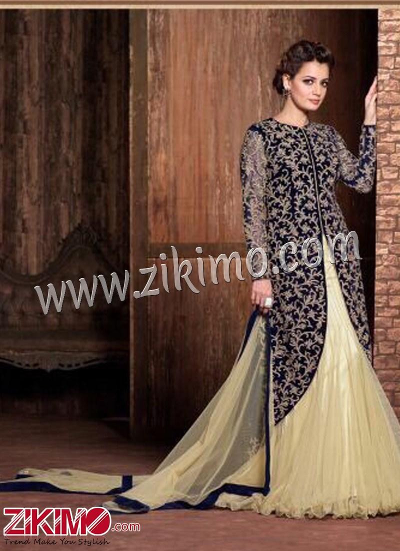Black And Cream Velvet Embroidery Designer Salwar Suit