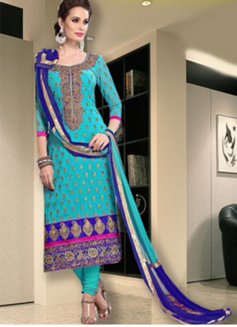 Sky Blue Chanderi Silk Embroidery Designer Party Wear Salwar Suit At