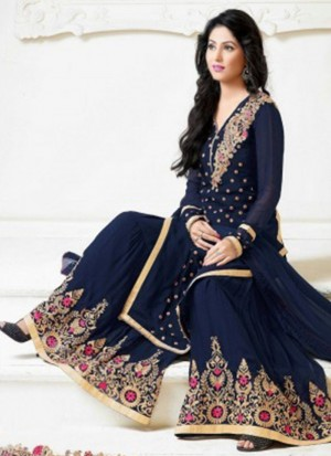 HEENA KHAN NAVY BLUE GEORGETTE EMBROIDERY LONG STRAIGHT SALWAR PLAZO SEMI STITCH SUIT AT ZIKIMO