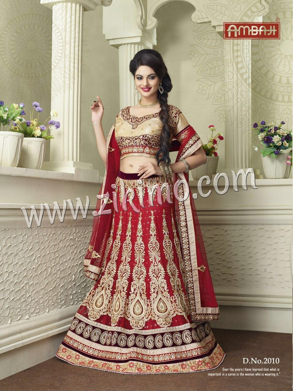 72a5ffcdef Ambaji Heavy Net Indian Bridal lehenga With Gota Work Choli and Net Duaptta  at Zikimo ...