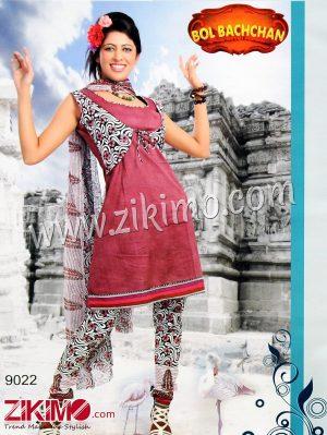 Zikimo Bolbachan 9022DarkMagenta Printed Cotton Un-stitched Daily Wear Salwar Suit