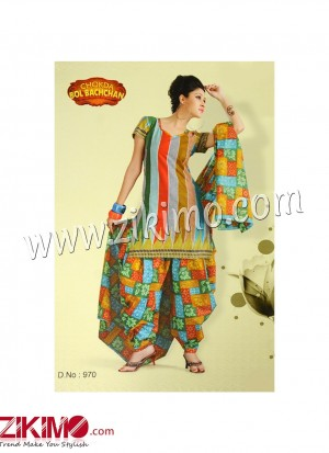 Zikimo Bolbachan 970Multicolor Printed Cotton Un-stitched Daily Wear Salwar Suit