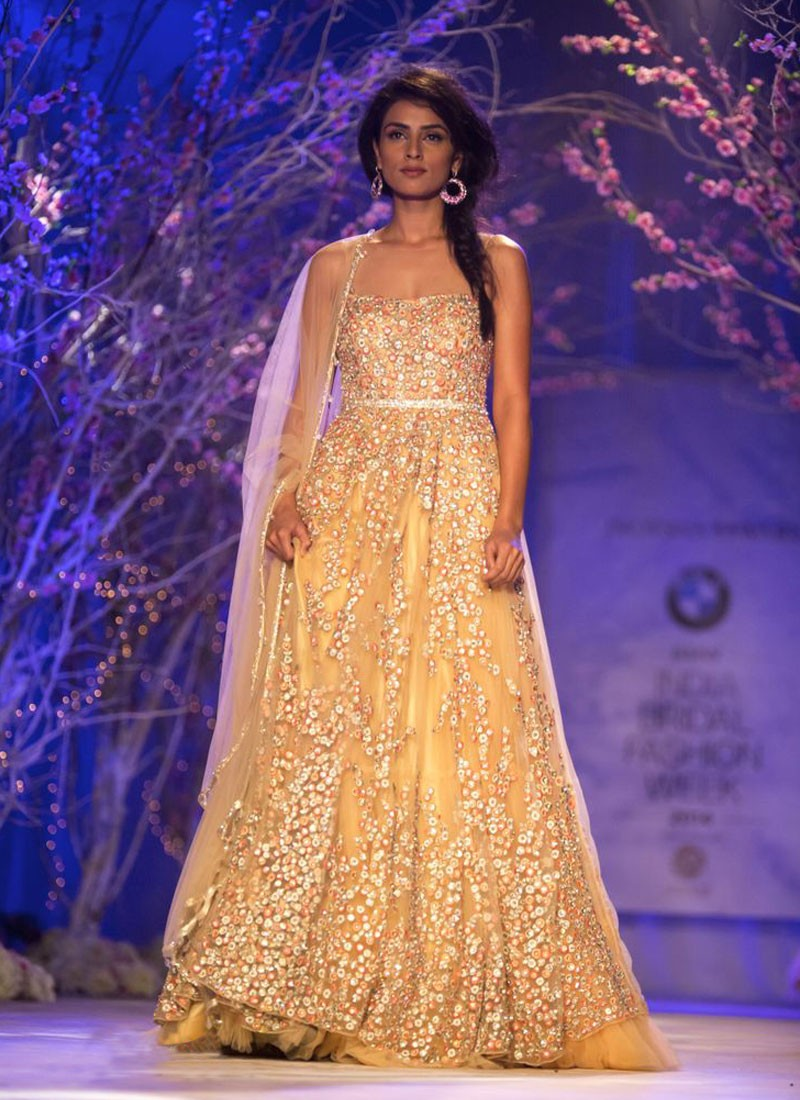 Beige Indo-Western Wedding Gown with Multi-Color Embroidery at ZIkimo