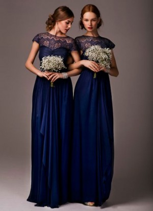Charming Navy Blue Satin Partwear Bridesmaid Gown at Zikimo