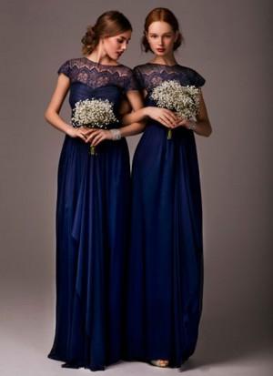 Charming Navy Blue Satin Partwear Bridesmaid Gown at Zikimo