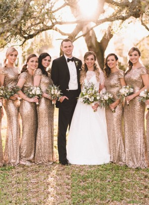 Beautiful Gold Sequined Bridesmaid Wedding Gown at Zikimo