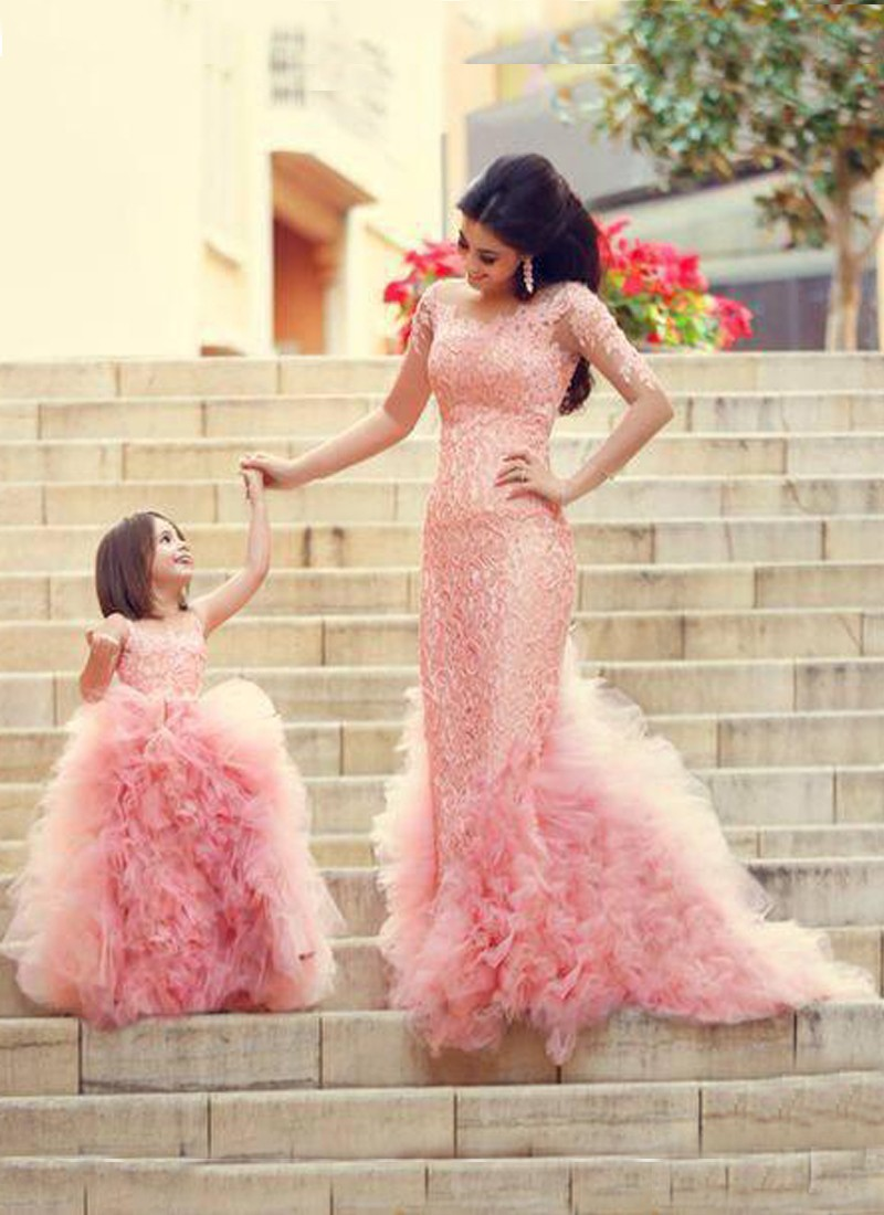 Glamorous Party Wear Mom-Daughter Pink Net Gown Set at Zikimo