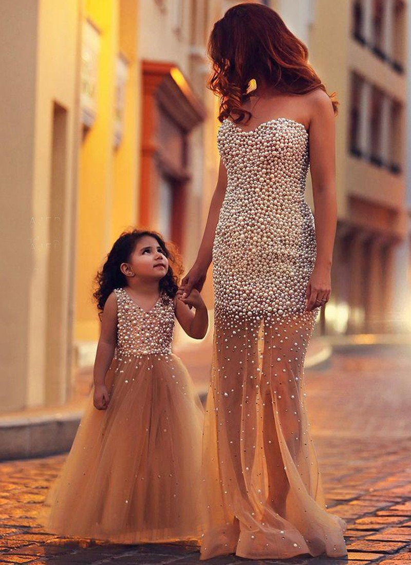 2f9972ef06e Charming Party Wear Mom-Daughter Beige Gown Set at Zikimo