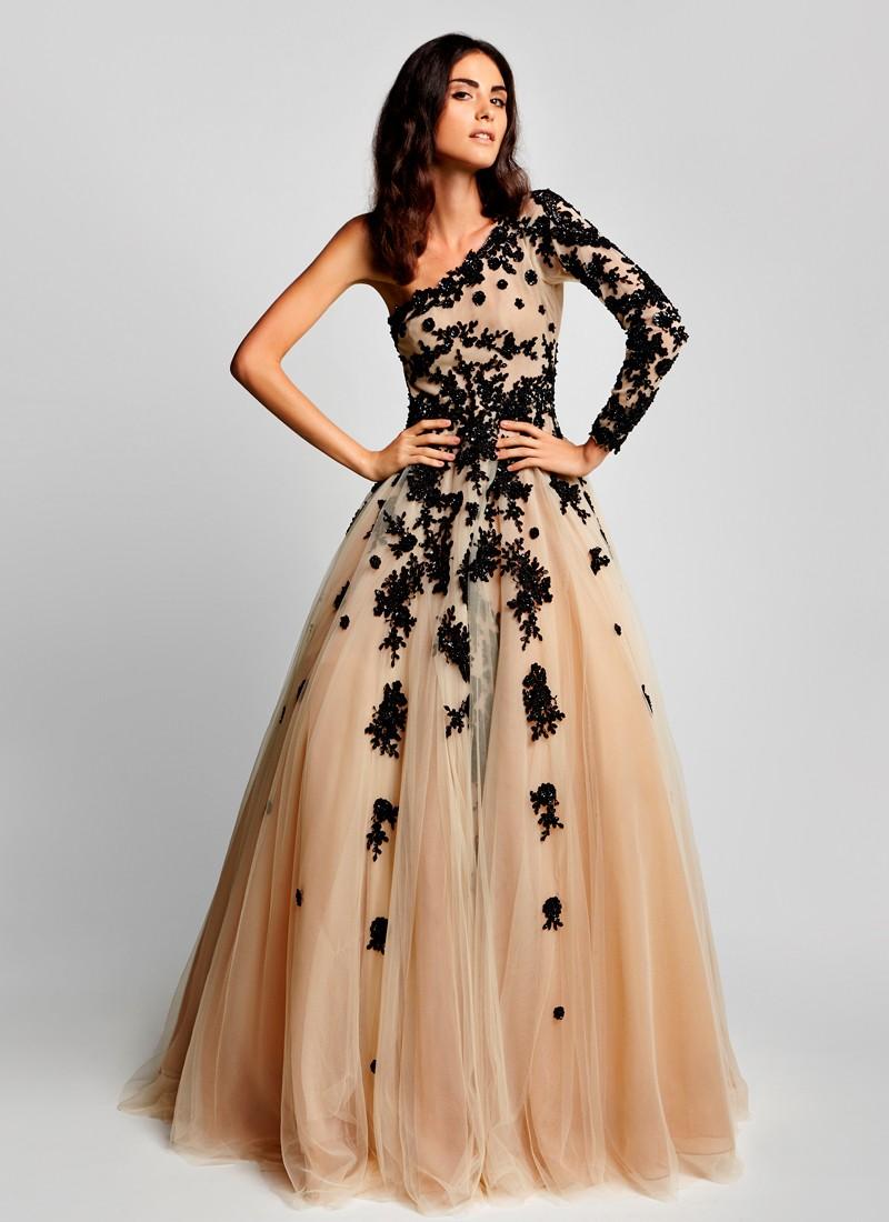 Marvelous Beige & Black Beautiful Party Wear Net Gown At Zikimo