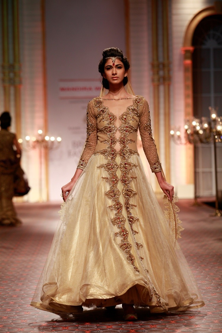 Incredible Beige Brown Hand Embroidered Couture Wedding Gown with Applique Work At Zikimo