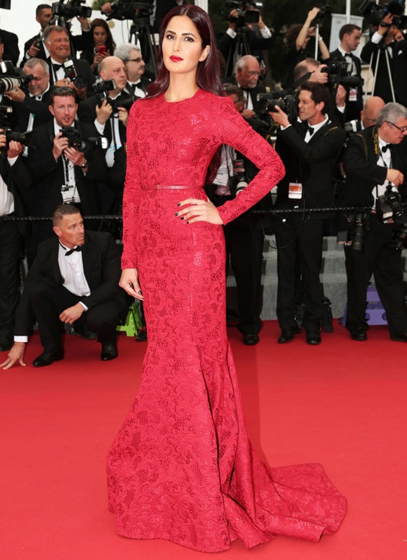 Respective Katrina Kaif Cannes 2015 Party Wear Red Gown At Zikimo