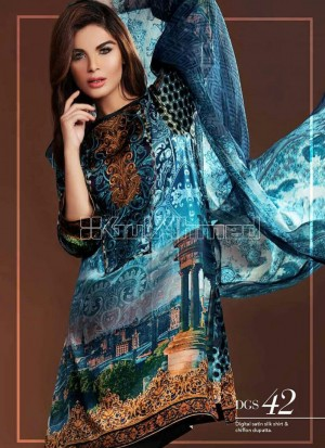 Multicolor and Black Party 42 Party Wear Printed Un-stitched Satin Pakistani Suit at Zikimo
