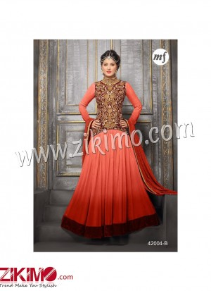 Zikimo Heenaz42004B Light Orange and Brown Anarkali Party Wear Suit with Chiffon Dupatta