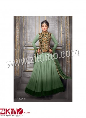 Zikimo Heenaz42004C Mehandi Green and Golden Anarkali Party Wear Suit with Chiffon Dupatta