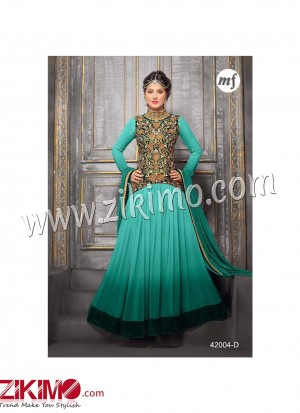Zikimo Heenaz42004D Sea Green and Golden Anarkali Party Wear Suit with Chiffon Dupatta