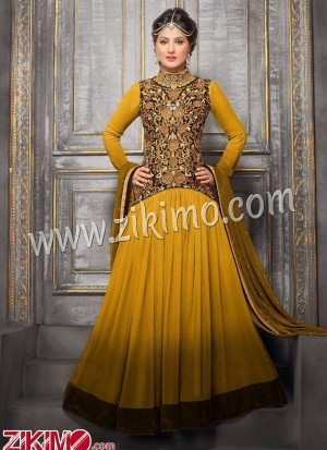 Zikimo Heenaz42004E Brown and Golden Anarkali Party Wear Suit with Chiffon Dupatta