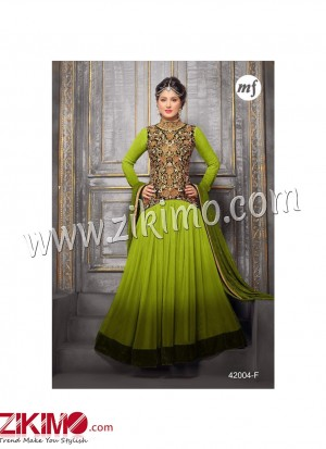 Zikimo Heenaz42004F Green and Golden Anarkali Party Wear Suit with Chiffon Dupatta
