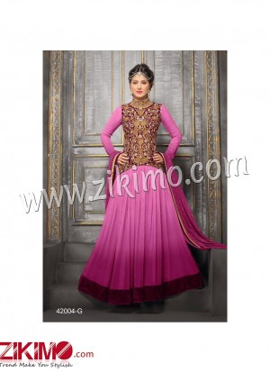 Zikimo Heenaz42004G Pink and Golden Anarkali Party Wear Suit with Chiffon Dupatta