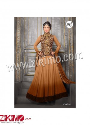 Zikimo Heenaz42004J Coffee and Dark Brown  Anarkali Party Wear Suit with Chiffon Dupatta
